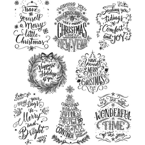 Tim Holtz Cling Stamps - Doodle Greetings Mini for Christmas