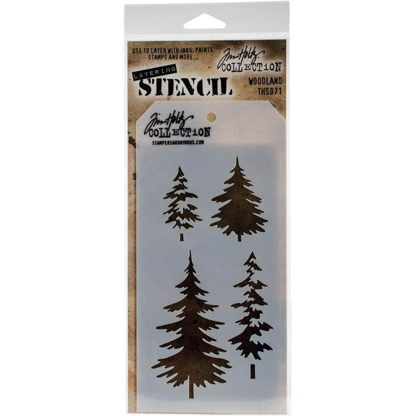 Woodland ... this Tim Holtz layering stencil features a set of four beautifully drawn pine trees