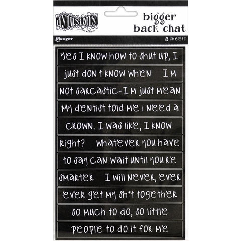 Dylusions Creative Dyary Stickers - Bigger Back Chat - Black
