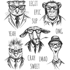 Tim Holtz cling stamp set Hipsters are animal portraits wearing ties and hats