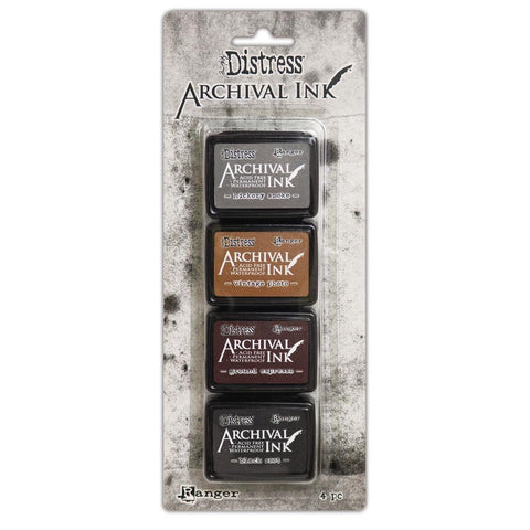 tim Holtz Archival Ink Pads Mini 4 colours black brown and grey