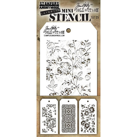 Roses - Ornate - Floral ... these Tim Holtz layering stencils are the miniature sized versions of the same name