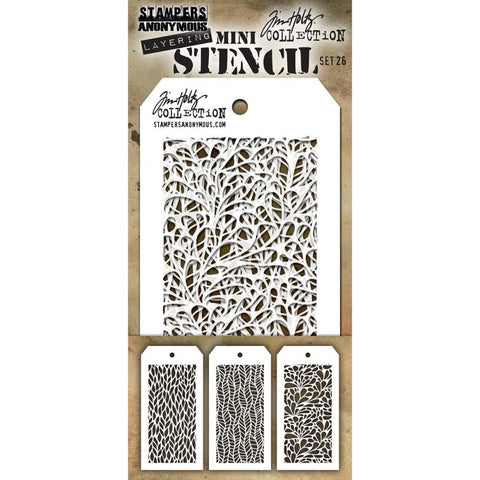 Tim Holtz Layering Mini Stencil - Set 26 - Leafy Feather Splash