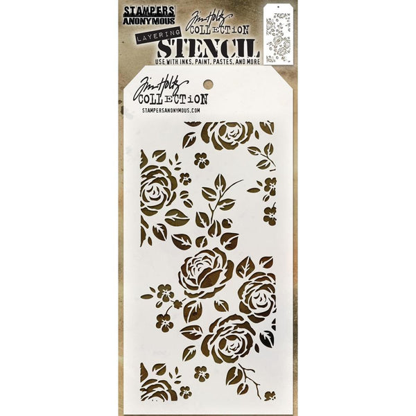 Roses ... this Tim Holtz layering stencil features a beautiful delicate floral design of roses and their leaves with a few forgetmenots