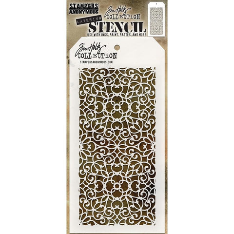 Ornate ... this Tim Holtz layering stencil features a stunning intricate design of curls and hearts