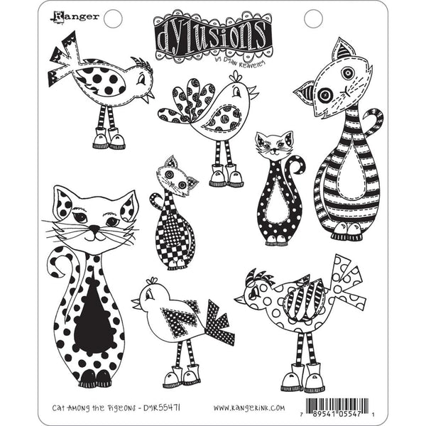 Dylusions Cling Rubber Stamps - Cat Among the Pigeons