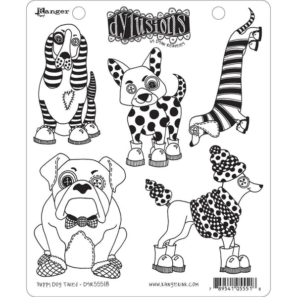 Dylusions Cling Rubber Stamps - Puppy Dog Tails