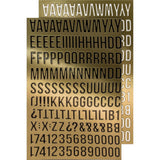 Tim Holtz Idea-Ology - Stickers - Metallic Alpha Gold - 4 Sheets