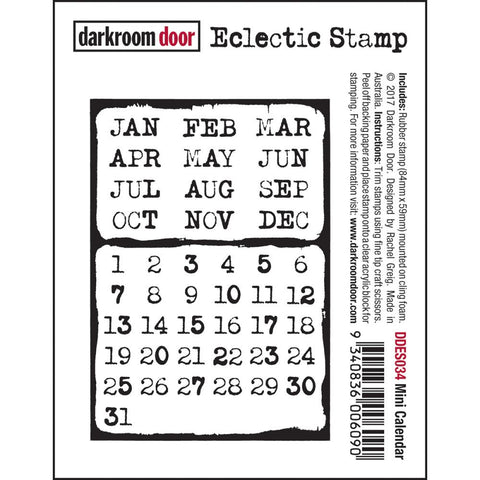 Mini Calendar cling rubber stamp