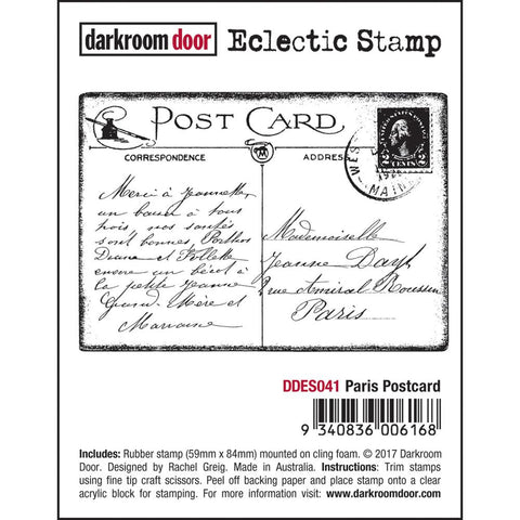 Post Card cling rubber stamp