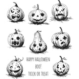 Pumkinhead stamp set, 8 pumpkinheads for fun and craft