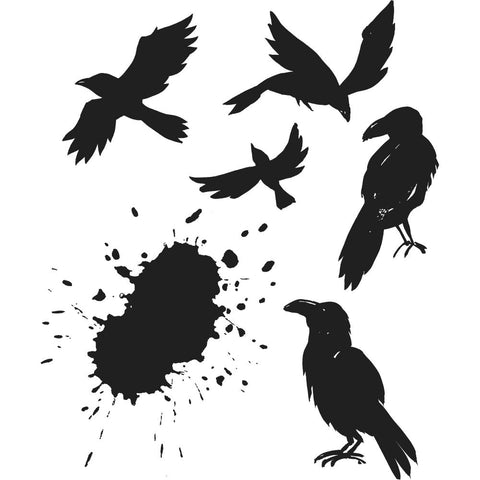 Ravens - a set of 5 bird stamps (ravens or crows) and 1 ink splat