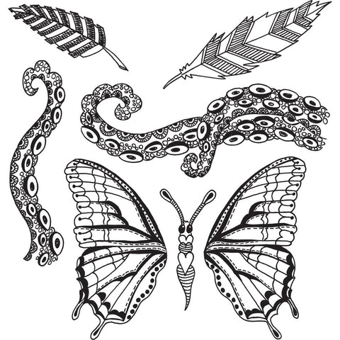 Dylusions Cling Rubber Stamps - Flight of Fancy - NEW!