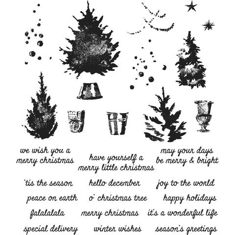 Tim Holtz cling rubber stamp set of pine trees and sayings