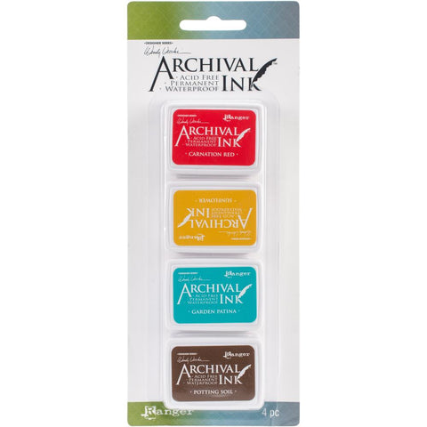 Archival Ink Mini InkPads - Set 1 by Wendy Vecchi - red, yellow, patina, brown