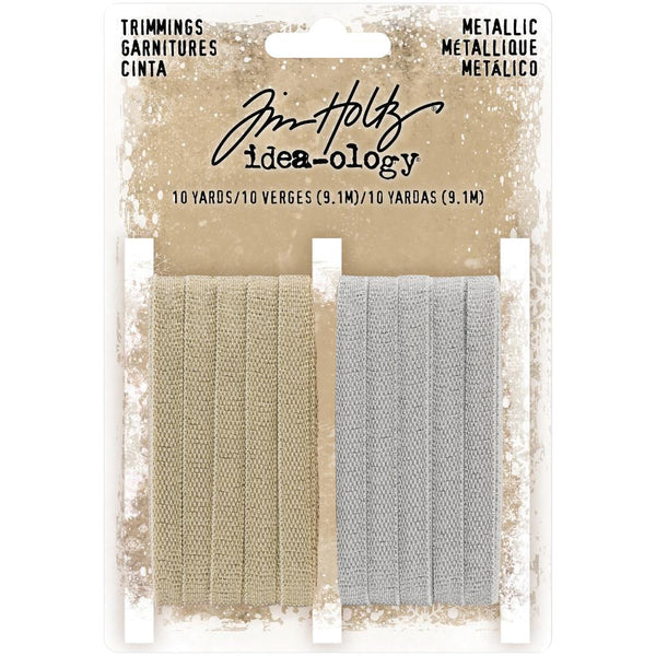 Tim Holtz Idea-Ology - Trimmings - Metallic Ribbon - Gold and Silver
