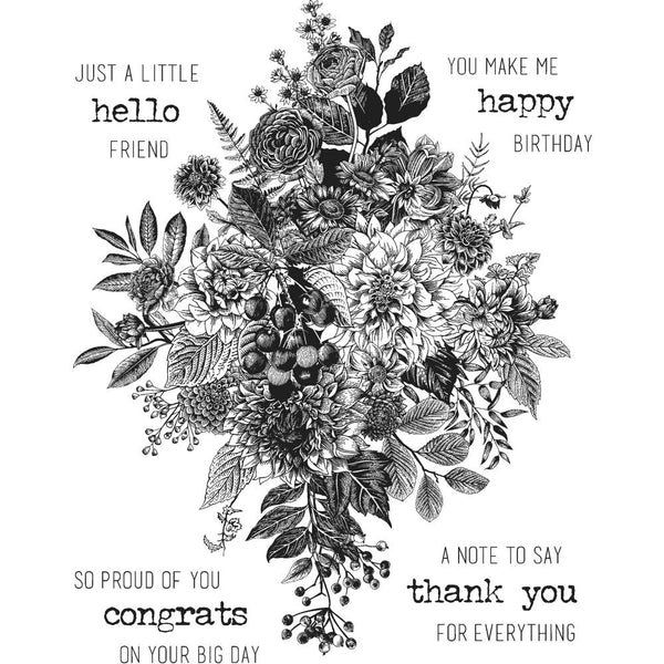 Tim Holtz Cling Stamps - Glorious Bouquet and 12 other designs