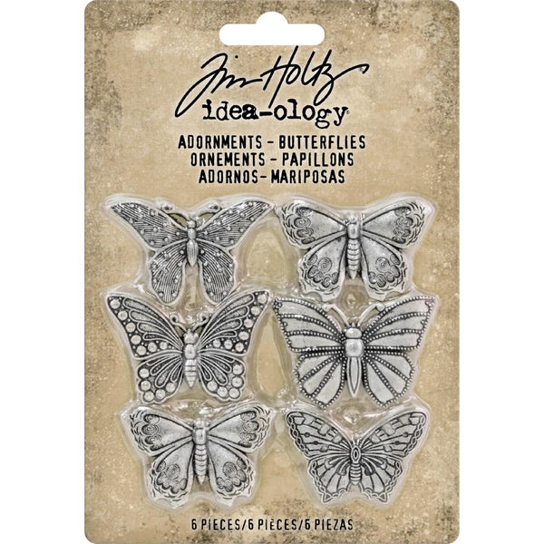 Tim Holtz Idea-Ology - Adornments - Butterflies - 6 Metal Charms