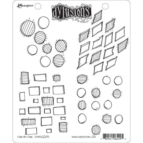 Dylusions Cling Rubber Stamps - Four by Four - NEW!