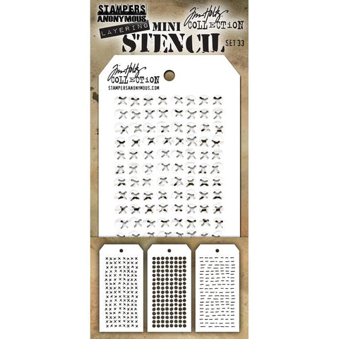 Tim Holtz Layering Mini Stencil - Set 33 - Stitched Dotted Dashes