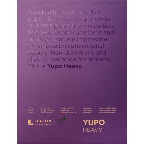"Yupo Heavy-weight White Paper ... 144lbs or 390gsm, 9"" x 12"" in size"