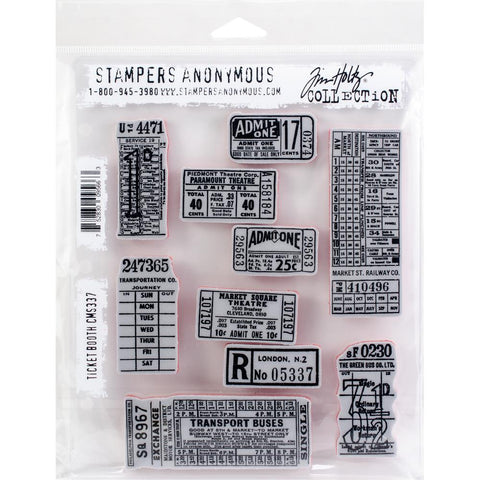 Tim Holtz Cling Stamps for arts and crafts - Ticket Booth