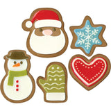 samples of Santa, snowman, mitten, snowflake and heart