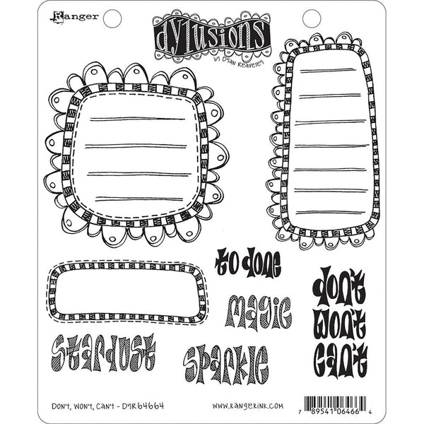 Dylusions Dyan Reaveley Cling Rubber Stamps - Dont Wont Cant by Stampers Anonymous