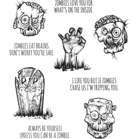 Zombies ... Cling Rubber Stamp Set by Tim Holtz - 9 Designs