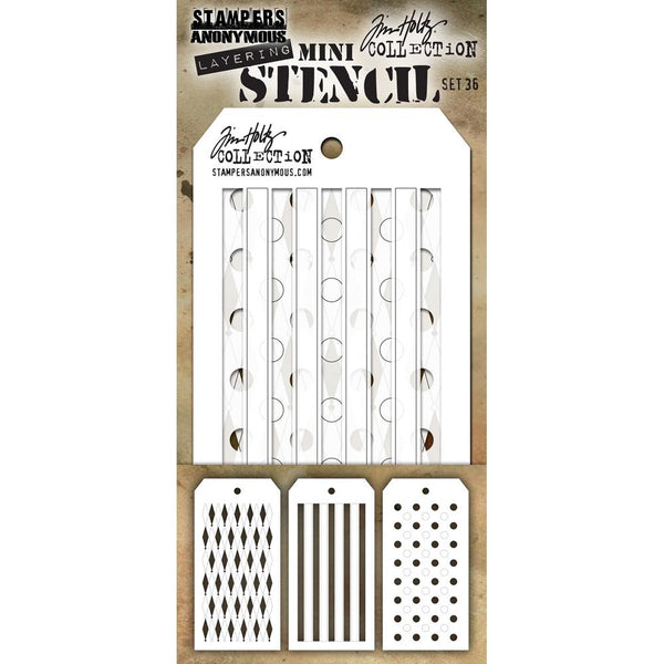 Shifter Stencils - Dots, Stripes, Diamonds ... layering stencils by Tim Holtz