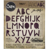"Alphanumeric, CutOut Upper (3/4"" tall) - by Tim Holtz ... set of Thinlits die cutting templates by Sizzix."