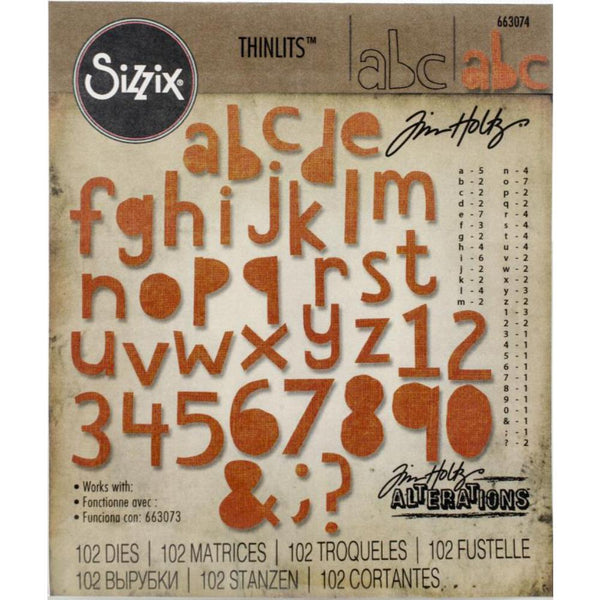 Alphanumeric, CutOut Lowercase - by Tim Holtz ... set of Thinlits die cutting templates by Sizzix.