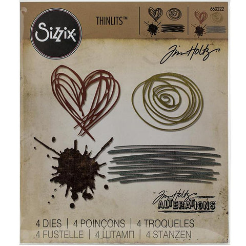 Tim Holtz Thinlits Die Cutting Set by Sizzix - Scribbles and Splat