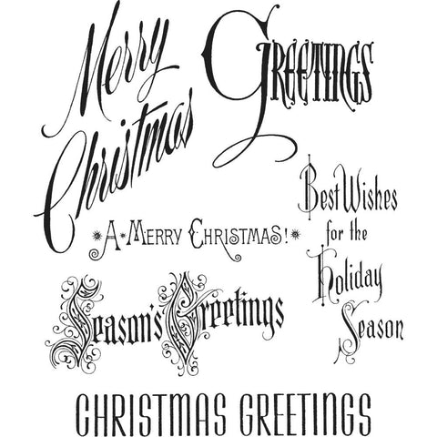 Christmastime (or Christmas Time) ... Christmas messages - set of 6 rubber stamps by Tim Holtz.