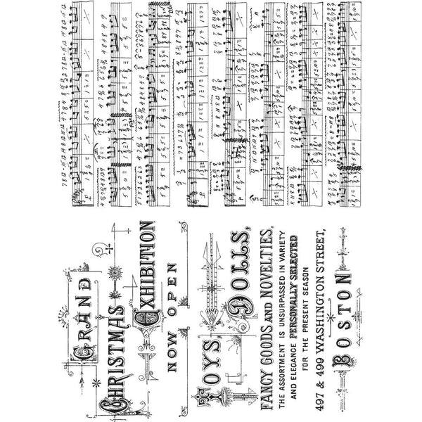 Music and Advert ... set of 2 cling rubber stamps by Tim Holtz