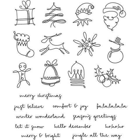 December Doodles ... Christmas Icons and Messages - set of rubber stamps by Tim Holtz