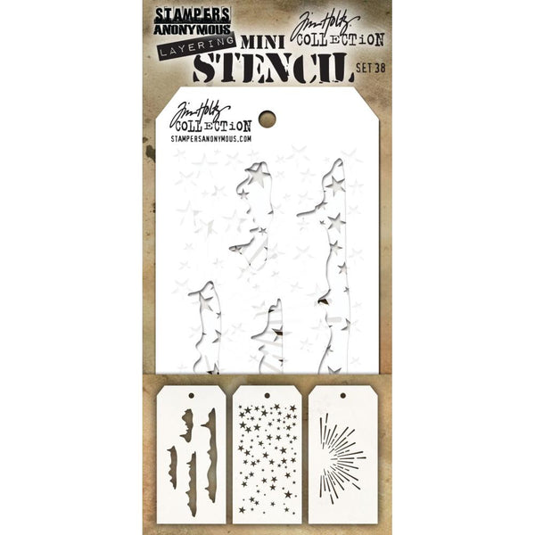 Snowcap, Falling Stars, Burst ... set of 3 mini layering stencils by Tim Holtz THMS038