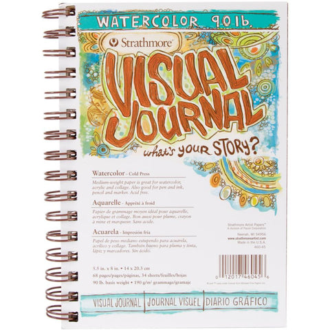 Strathmore Visual Journal - Watercolour Paper 90lb - Small 5.5x8 - Wire Bound - 34 Sheets