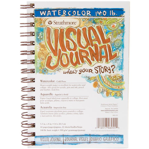 Strathmore Visual Journal - Watercolour Paper Heavy 140lb - Small 5.5x8 - Wire Bound - 22 Sheets