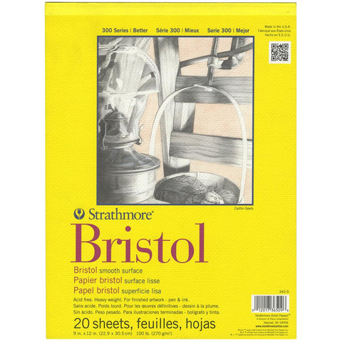 Strathmore - Bristol Smooth Paper - White - Series 300 - 9x12 Pad - 20 Sheets