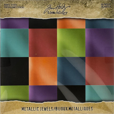 Tim Holtz Idea-Ology Surfaces - Kraft Stock 8x8 - Metallic Jewels