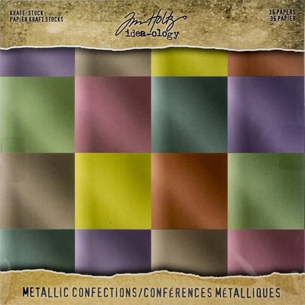 Tim Holtz Idea-Ology Surfaces - Kraft Stock 8x8 - Metallic Confections