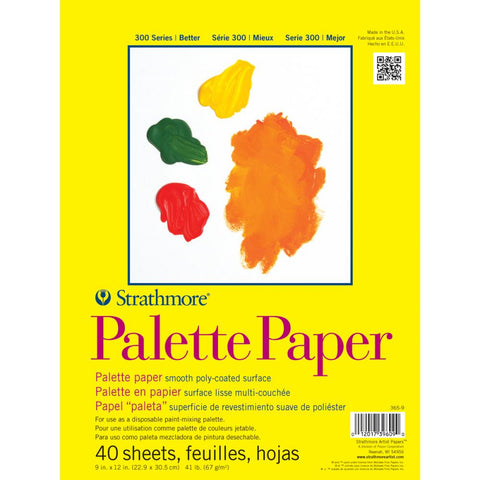 "Palette Paper - by Strathmore Artist ... 9""x12"", White, 40 Sheets. Smooth white poly-coated surface for use as a disposable mixing palette."