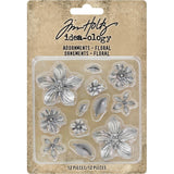 Floral Adornments by Tim Holtz - 12 metal flower and leaf pieces.