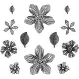 samples of the Floral Adornments by Tim Holtz - 12 metal flower and leaf pieces.