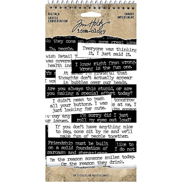 Tim Holtz Idea-Ology - Spiral Bound Sticker Book - Snarky Big Talk