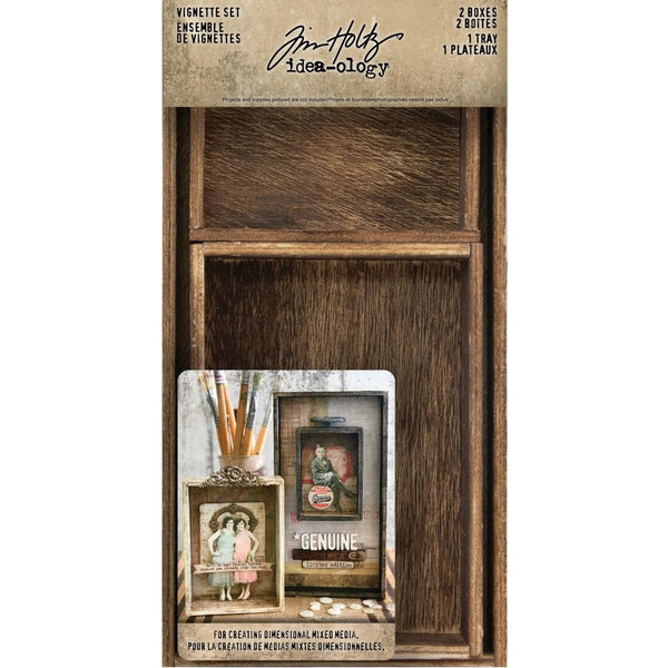 Vignette Set - Idea-Ology wooden open boxes by Tim Holtz