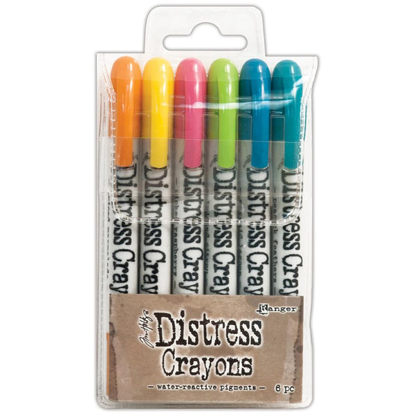 Tim Holtz Distress Crayons Set 1 - Picked Raspberry, Spiced Marmalade, Mustard Seed, Twisted Citron, Mermaid Lagoon and Peacock Feathers.