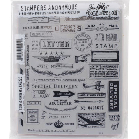 Correspondence ... 40 versatile rubber stamps by Tim Holtz (CMS225)