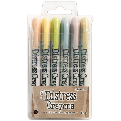 Tim Holtz Distress Crayons, set 8 - Tattered Rose, Scattered Straw, Shabby Shutters, Weathered Wood, Milled Lavender and Old Paper